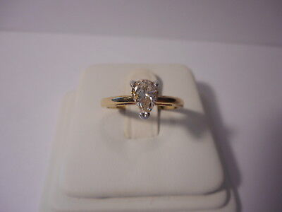 Pear Shape Solitaire 14KT GF Gold Tone Ring Size 7