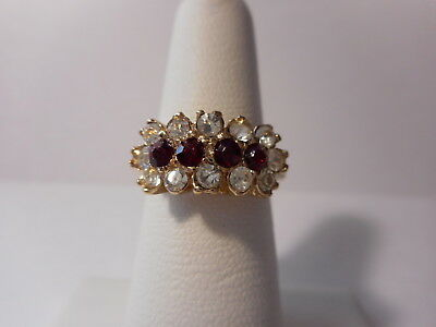 Red White Stone Triple Row Gold Tone Ring Size 7