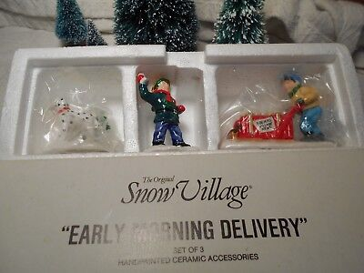 """Dept 56 Snow Village Accessory """"early Morning Delivery"""" Item # 54313 Set Of 3"""