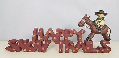 Happy Snow Trails -New resin block with cowboy on his horse-Blossom Bucket#28824