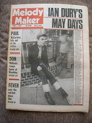 Melody Maker April 1 1978 Ian Dury Wayne County  McCartney 01/04/78