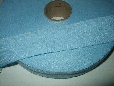 38mm BABY BLUE, Acrylic Herringbone Tape for Edging or Ties,1,2,10,50 metres