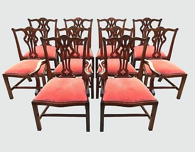 Exceptionally Fine Set Of 10 Chippendale Antique Style Mahogany Dining Chairs