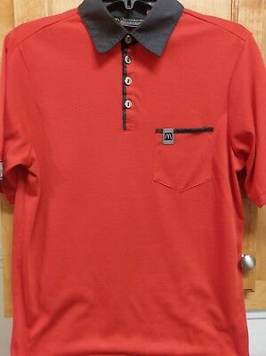 McDonalds Apparel Collection Employee Shirt Gray Red Black Polo Sz S Small