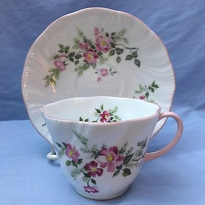 Rosina China Co. Ltd. Cup & Saucer w/ Pink Flowers, Pink Handle, Made in England