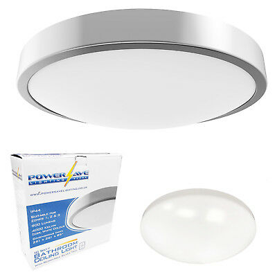 Powersave LED Flush Indoor Ceiling Light Fitting IP44 Bathroom Rated Cool White