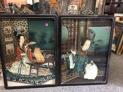 Antique Chinese Reverse Paintings On Glass Set Of Two
