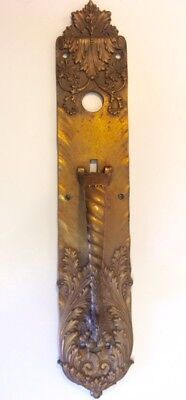Russell & Erwin MFG Co - Antique Brass Door Plate with Handle 18-1/2""