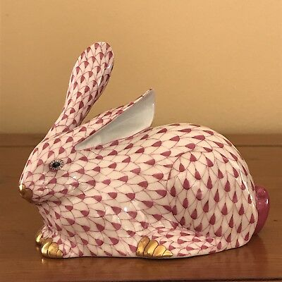"Herend Pink Fishnet Lying Bunny Rabbit 4.25"" Long"