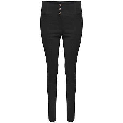 NEW MISS SKINNY Girls High Waisted Black Stretch SEXY 3 Stud Trousers size 8-16