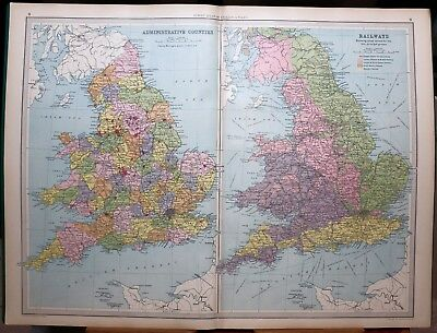1939 Survey Map England & Wales Administrative Counties & Railways Great Western