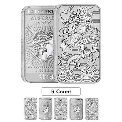 Lot of 5 - 2018 1 oz Silver Australian Dragon Coin Bar $1 BU