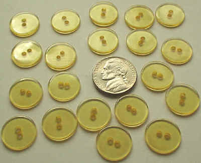 LOT of 20 APPLE JUICE YELLOW ANTIQUE ROUND BAKELITE BUTTONS 15mm