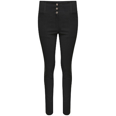 Womens High Waisted Ladies Black Stretch  Girls School Office Trousers size 8-16