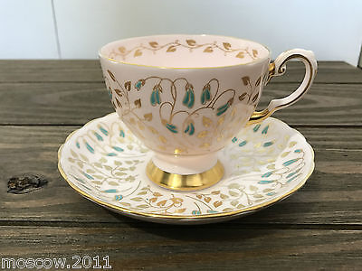 Unique Vtg Tuscan Pink Floral Bone China Teacup Saucer- Turquiose flower England