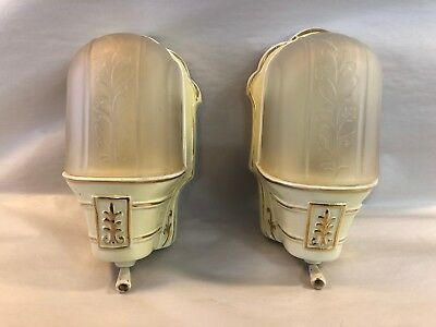 PAIR of Art Deco Porcelain Wall Sconces with Orig Satin Glass Shades c1920s