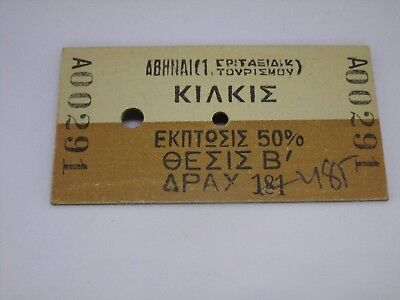 Vintage Railroad Ticket Dated 1984 Rare From Greece Kilkis Free  Shipping