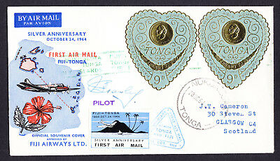 Poster & Queen Salote stamps on 1964 Tonga 25th Anniv Flight Cover Pilot Signed