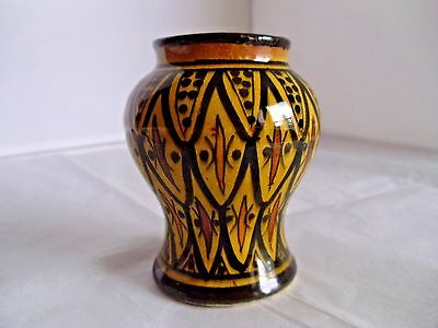 Morocco Moroccan Safi Glazed Pottery Vase Hand Painted Redware
