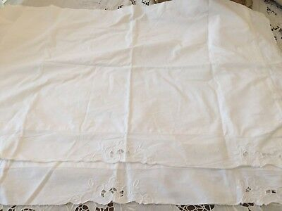 Charming Vintage Embroidered Pillow Shams Pure White