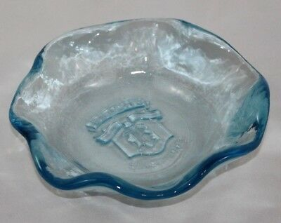 Vintage Brach's Candy Company Blue Glass Candy Dish Advertising