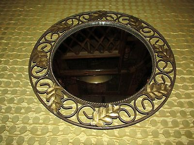 VTG Metal Leaf Design Wall Mirror Frame or Vanity Cosmetic Tray ~ Unique