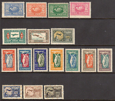 1921-1922 Lithuania Airpost Lot of 3 Sets - SC C1-C7, C8-C14 & C18-20 - MH Mint*