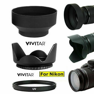 Hard Tullip Hood+ Rubber Soft Hood + Uv Filter For Nikon D3200 D3300 D5000 D5100