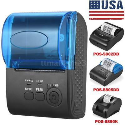 Portable 58mm BT Wireless Thermal Receipt Printer f/iOS Android Wins,US Stock