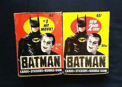 Vintage 1989 Topps Batman Trading Cards Series 1&2 Sealed Wax Pack Boxes