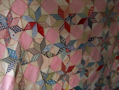 Quilt Top Antique Cotton 8 Pt. Star W/one Corner Cut Out Hand Sewn Can Cut Down