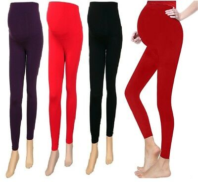 Ladies Women's Maternity Full Length Cotton Leggings Pregnancy UK Sizes 8 -20