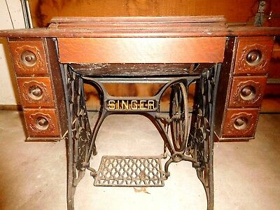 Antique Authentic Singer Sewing Machine & Cabinet With 6 Drawers
