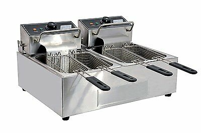 Omcan 34868 Commercial Counter Top Double Electric 110 V Fryer CE-CN-0012 12 LB