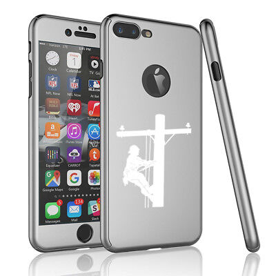 For iPhone 360° Thin Case Cover + Screen Protector Lineman Electric Pole Climber