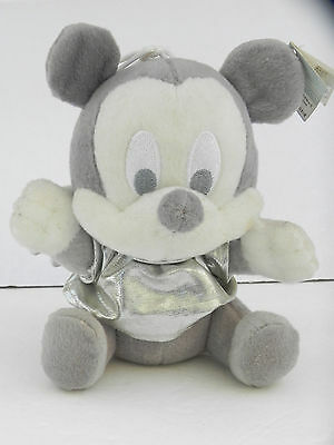 RARE Disney Baby Mickey Mouse ANGEL Plush 7 inches, Grey & White, Asia