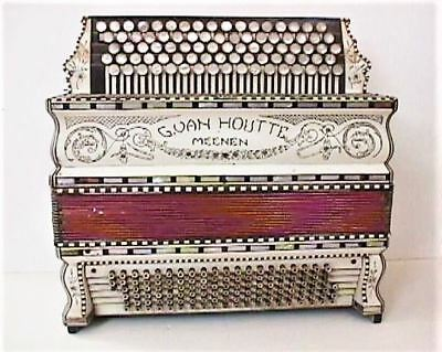 "G. VAN HOUTTE  Antique Button  Accordion "" Fantastic Piece to Look At"""