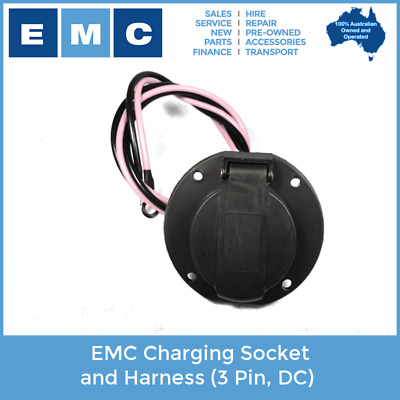 EMC Charging Socket and Harness (3-Pin, DC) for Low Speed Electric Vehicles