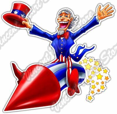 Uncle Sam Firework USA America 4th of July Car Bumper Vinyl Sticker Decal 4.6""