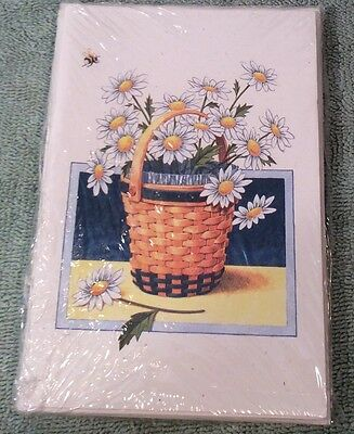 Longaberger Daisies Daisy Basket Note Cards Set of 10 #86274 Flower Notecards
