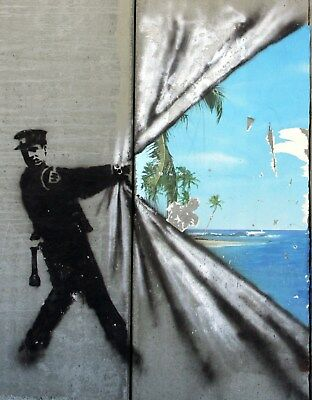 Banksy Framed Canvas Street  graffiti Urban  Art Print paradise