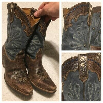 acb795ac466 Ariat Women Western Boots 6.5B Brown Bomber Embellished Cowgirl Leather  Snip Toe