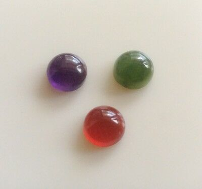3 Pc Round Shape Cabochon Natural Jade/amethyst/carnelian 6Mm Loose Gemstones