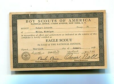 Vintage BOY SCOUTS OF AMERICA Eagle Scout certificate 1935 Niles MI troop 71