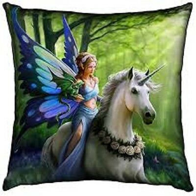 Anne Stokes Large Realm Of Enchantment Fairy Unicorn Mythical Pillow Cushion