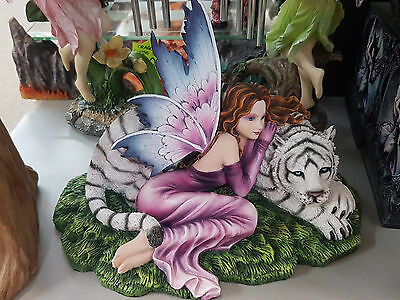 FAIRY WITH TIGER ~ 22cms HIGH ~ STATUE ORNAMENT DECOR ~ GIFT IDEA