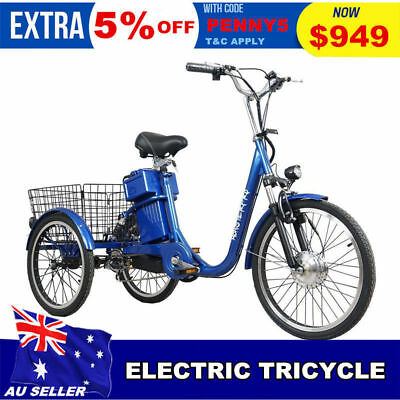Black 250w Trike Electric Bike 48v Tricycle Ebike Uber Tour City Scooter Bicycle