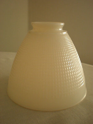 "Vtg Ivory White Milk Glass 6"" Diffuser Torchiere Lamp Shade Waffle 2 1/4"" Fitter"