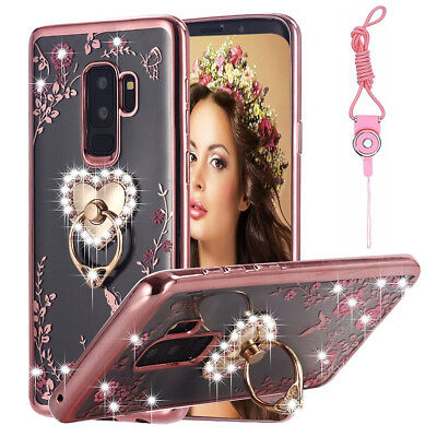 For Samsung Galaxy S9 Note 8 Bling Crystal Diamond Soft TPU Case Cover + Lanyard