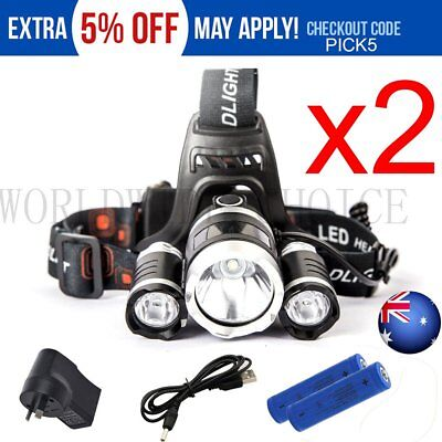 2X Rechargeable 15000Lm Cree 3T6 Xml Led Headlamp Headlight Torch Camping Hiking